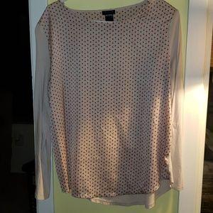Long sleeve polka dot blouse